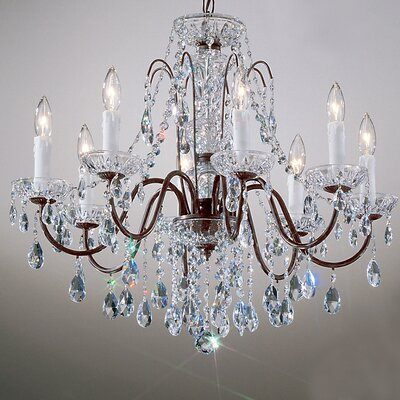 Letitia 8-Light Chain Shaded Crystal Chandelier Finish: Gold Plated, Crystal Type: Swarovski Elements