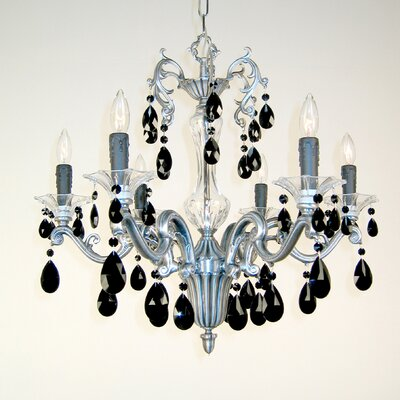 Via Firenze 6-Light Crystal Chandelier Finish: Millenium Silver, Crystal Type: Crystalique Black