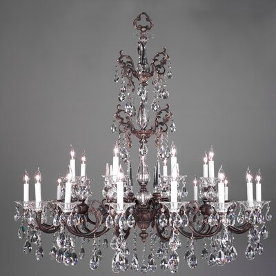 Via Lombardi 24-Light Crystal Chandelier Crystal Type: Crystalique Golden Teak, Finish: Silverstone
