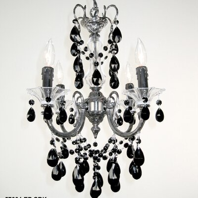 Via Venteo 4-Light Crystal Chandelier Crystal Type: Crystalique Black, Finish: Ebony Pearl