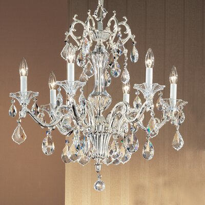 Via Firenze 6-Light Crystal Chandelier Finish: Silver Plate, Crystal Type: Crystalique