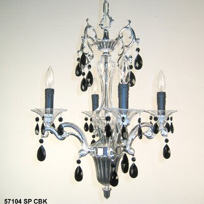 Via Firenze 4-Light Crystal Chandelier Crystal Type: Italian Rock Amber, Finish: Millenium Silver