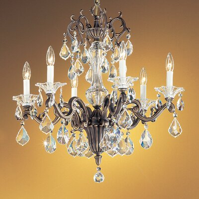 Via Firenze 6-Light Crystal Chandelier Crystal Type: Crystalique Golden Teak, Finish: Roman Bronze