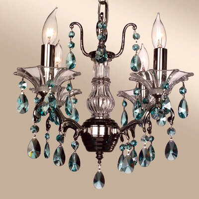 Garden of Versailles 4-Light Crystal Chandelier Finish: Chrome, Crystal Type: Crystalique-Plus Antique Green