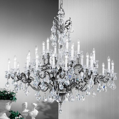 Via Firenze 30-Light Crystal Chandelier Crystal Type: Crystalique, Finish: Millenium Silver
