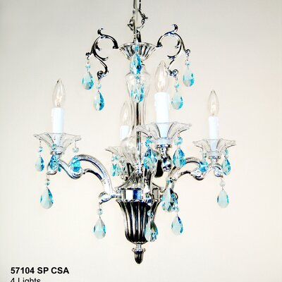 Via Firenze 4-Light Crystal Chandelier Finish: Silver Plate, Crystal Type: Crystalique Sapphire