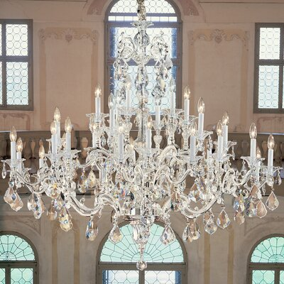 Via Firenze 30-Light Crystal Chandelier Crystal Type: Italian Rock Clear, Finish: Millenium Silver