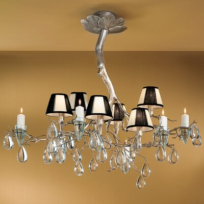 Morning Dew 6-Light Shaded Chandelier Crystal Type: Without Crystal, Finish: Silver Frost