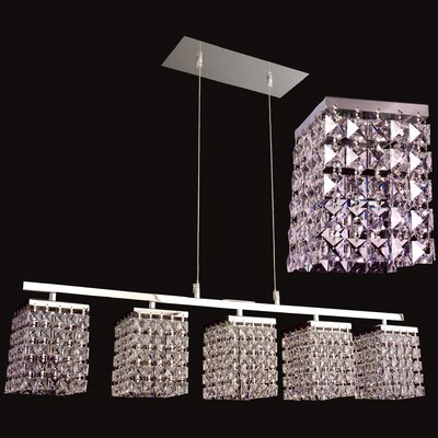 Bedazzle 5-Light Kitchen Island Pendant Crystal: Crystalique-Plus Squares