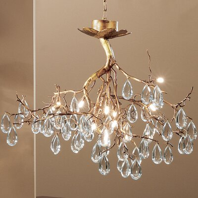 Morning Dew 12-Light Crystal Chandelier Finish: Natural Bronze, Crystal Type: Oysters Amber