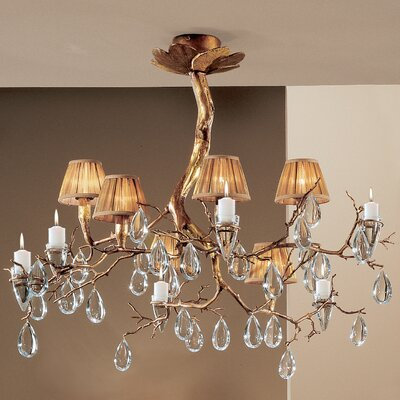 Morning Dew 6-Light Shaded Chandelier Finish: Natural Bronze, Crystal Type: Oysters Amber