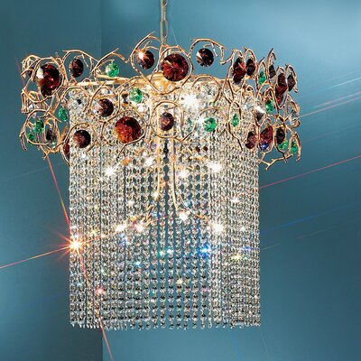 Foresta Colorita 12-Light Crystal Chandelier Finish: Silver Frost, Crystal Type: Black and Red