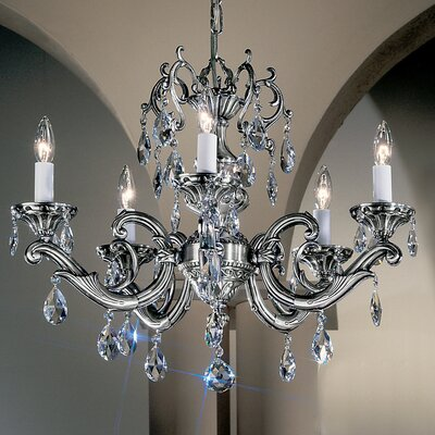 Princeton II 5-Light Crystal Chandelier Finish: Millenium Silver, Crystal Type: Crystalique