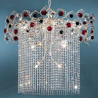 Foresta Colorita 10-Light Crystal Chandelier Finish: Silver Frost, Crystal Type: Black and Amber