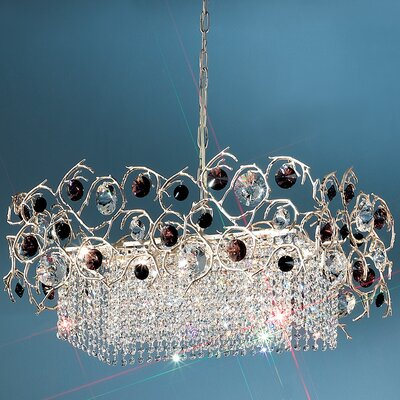 Foresta Colorita 8-Light Crystal Chandelier Finish: Silver Frost, Crystal Color: Black/Red
