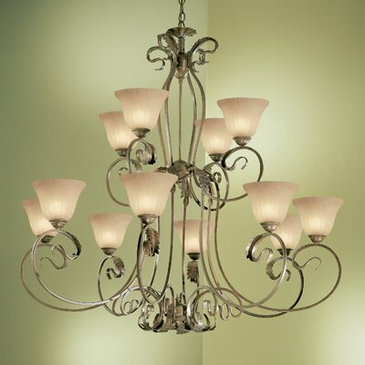 Manilla 12-Light Shaded Chandelier Finish: English Bronze, Glass Color: Sandstone Glass