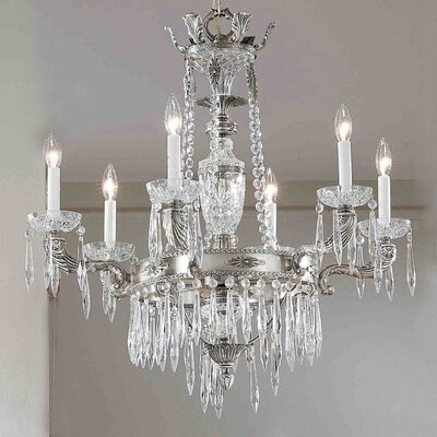Duchess 6-Light Crystal Chandelier Crystal Type: Italian, Finish: Millenium Silver