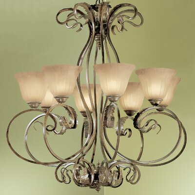 Manilla 8-Light Shaded Chandelier Glass Color: White Alabaster Glass
