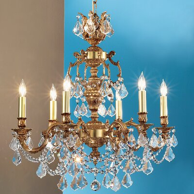 Chateau Imperial 6-Light Crystal Chandelier Crystal Type: Crystalique Golden Teak, Finish: Aged Pewter