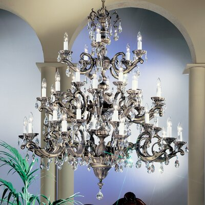 Princeton II 50-Light Crystal Chandelier Finish: Millenium Silver, Crystal Type: Without Crystal