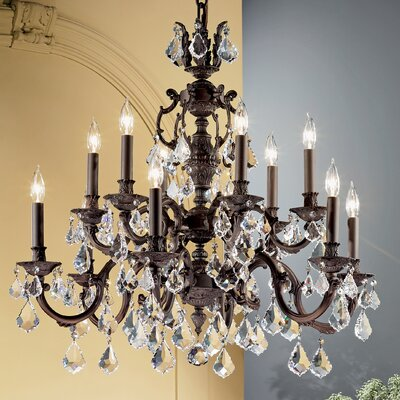Chateau 12-Light Crystal Chandelier Crystal Type: Swarovski Elements Golden Teak, Finish: Aged Pewter