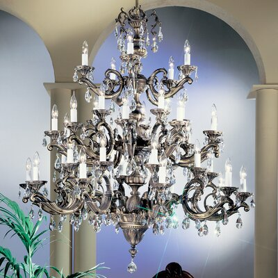 Princeton II 40-Light Crystal Chandelier Finish: Millenium Silver, Crystal Type: Without Crystal