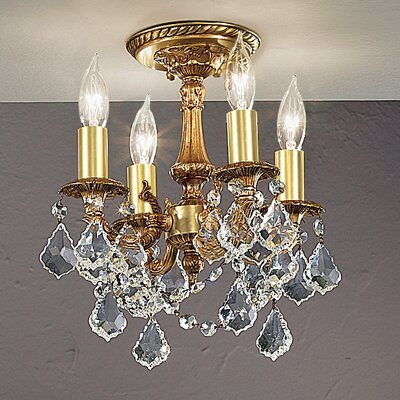 Majestic Imperial 4-Light Semi-Flush Mount Finish: French Gold, Crystal Type: Crystalique Golden Teak