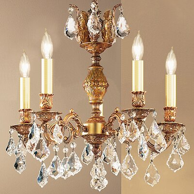Chateau 5-Light Crystal Chandelier Finish: Aged Pewter, Crystal Type: Crystalique Golden Teak