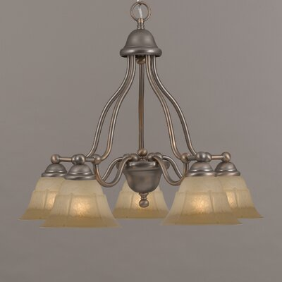 Providence 5-Light Shaded Chandelier Finish: Rustic Bronze, Glass Color: White Alabaster