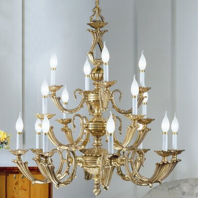 Alexandria III 16-Light Candle-Style Chandelier Finish: Satin Bronze with Brown Patina