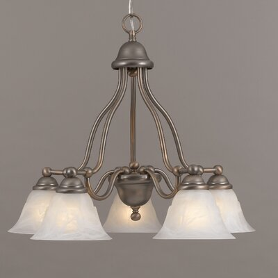 Providence 5-Light Shaded Chandelier Finish: Antique Copper, Glass Color: White Alabaster