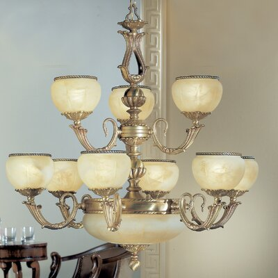 Alexandria II 12-Light Shaded Chandelier Finish: Satin Bronze with Brown Patina, Crystal Type: Crystalique