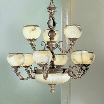 Alexandria I 12-Light Shaded Chandelier Finish: Victorian Bronze, Crystal Type: Without Crystal