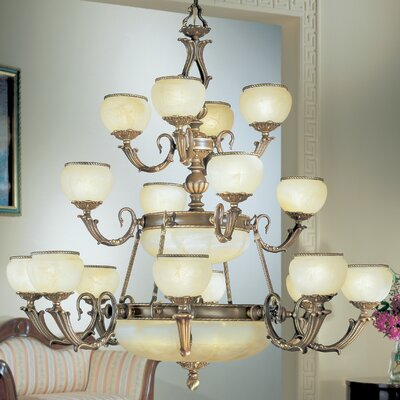 Alexandria II 24-Light Shaded Chandelier Finish: Satin Bronze with Brown Patina, Crystal Type: Without Crystal