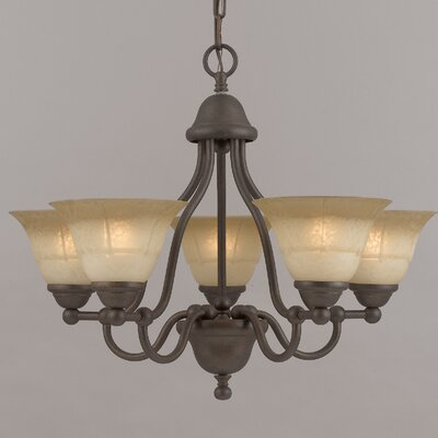 Providence 5-Light Shaded Chandelier Finish: Rustic Bronze, Glass Color: Tuscan Cream