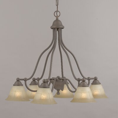 Providence 6-Light Shaded Chandelier Glass Color: White Alabaster, Finish: Rustic Bronze