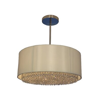 Newport 6-Light Drum Pendant Crystal Type: Crystalique-Plus Golden Teak