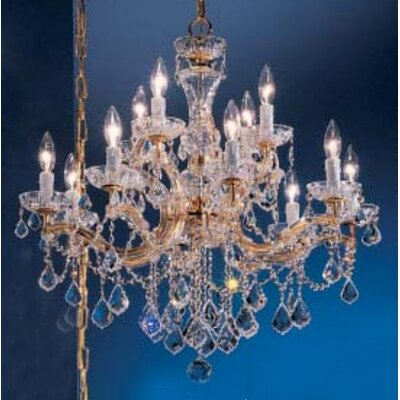 Rialto 12-Light Crystal Chandelier Crystal Type: Swarovski Elements Golden Teak, Finish: Gold Plated