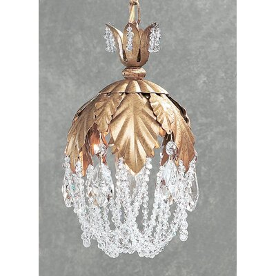 Petite Fleur 1-Light Pendant Crystal Type: Prisms Rose, Finish: Olde Gold