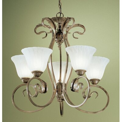 Manilla 5-Light Candle-Style Chandelier Glass Color: White Alabaster