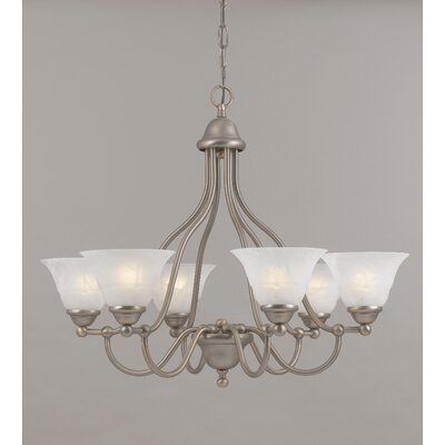 Providence 6-Light Shaded Chandelier Finish: Antique Copper, Glass Color: White Alabaster