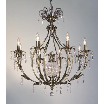 Sharon 8-Light Crystal Chandelier Finish: Antique Brass, Crystal Type: Crystalique-Plus