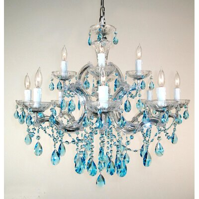 Rialto 12-Light Crystal Chandelier Finish: Chrome, Crystal Type: Crystalique Sapphire