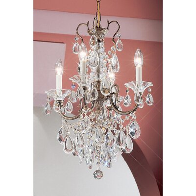 Via Venteo 4-Light Crystal Chandelier Finish: 24k Gold Plate, Crystal Type: Crystalique