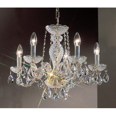 Monticello 5-Light Crystal Chandelier Finish: Gold Plated