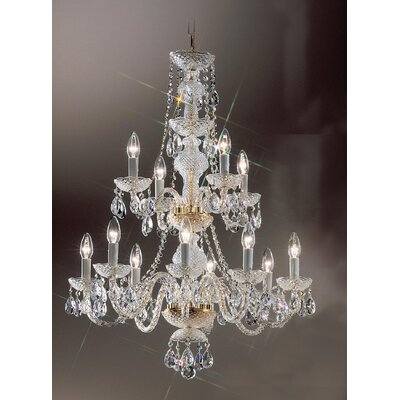 Monticello 12-Light Crystal Chandelier Finish: Gold Plated