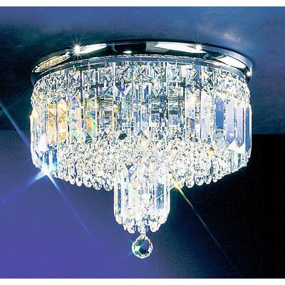 Ambassador 4-Light Semi-Flush Mount Finish: Chrome, Crystal Type: Crystalique Plus