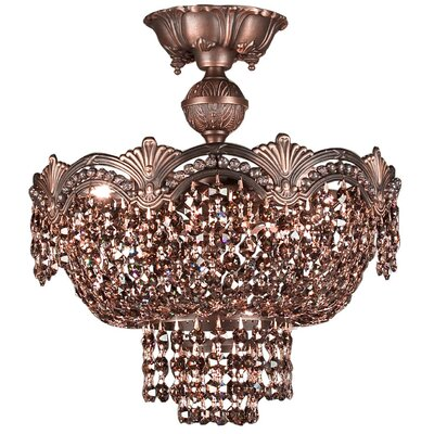Regency II 3-Light Semi-Flush Mount Finish: Roman Bronze, Crystal Type: Swarovski Elements Golden Teak