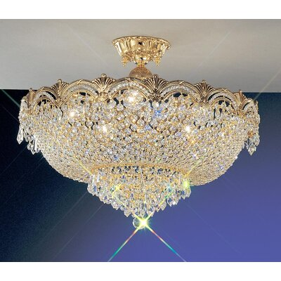 Regency II Semi-Flush Mount Finish: 24k Gold Plate, Crystal Type: Crystalique Plus