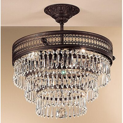 Renaissance 3-Light Semi-Flush Mount Crystal Type: Crystalique, Finish: Matte Bronze
